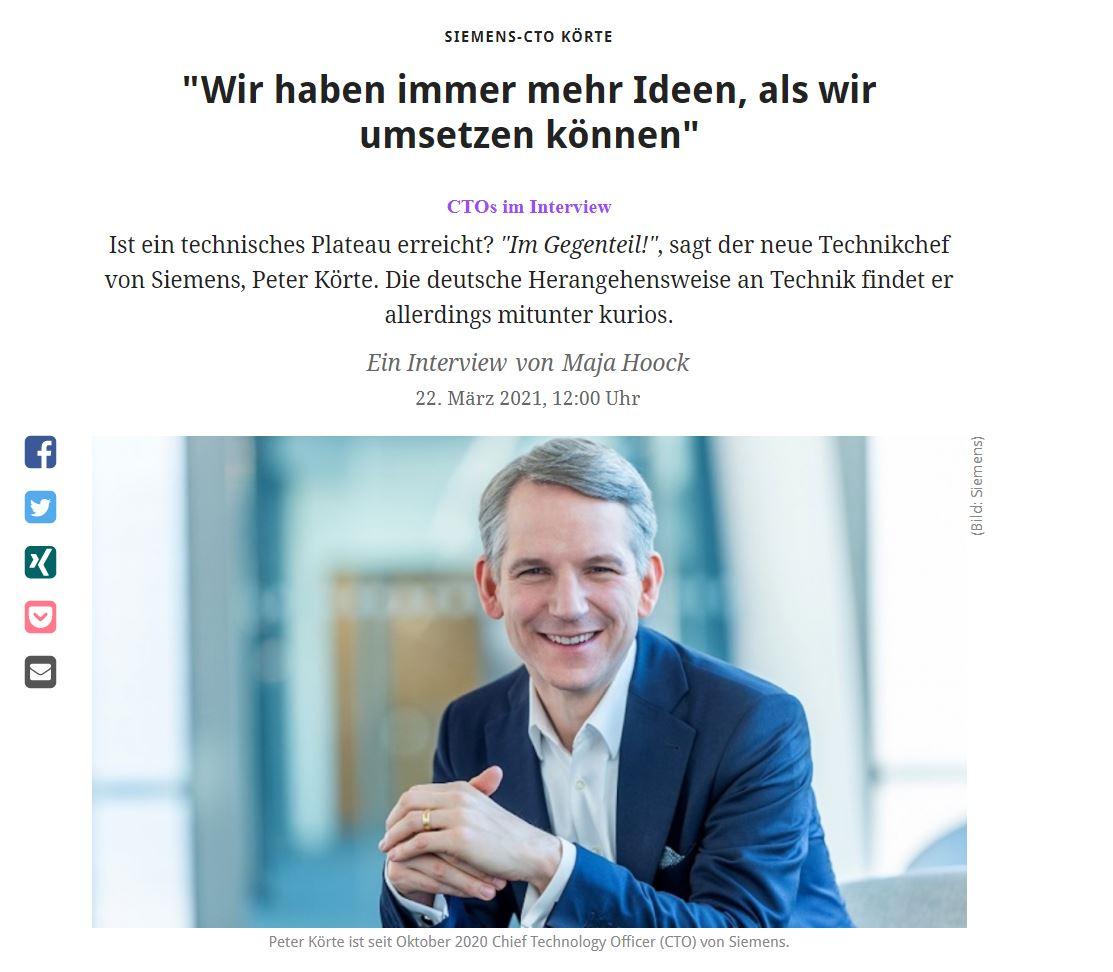 Siemens CTO Peter Körte im Interview mit Maja Hoock und golem.de