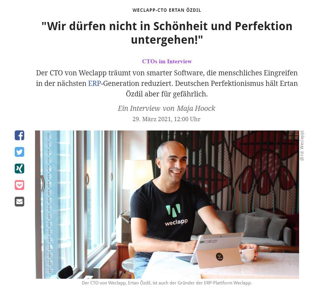 Ertan Özdil ist Gründer und CTO der cloudbasierten Enterprise Ressource Planning (ERP)-Plattform Weclapp.